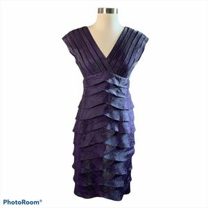 Adrianna Papell Purple Shimmer Tiered Dress Size 4